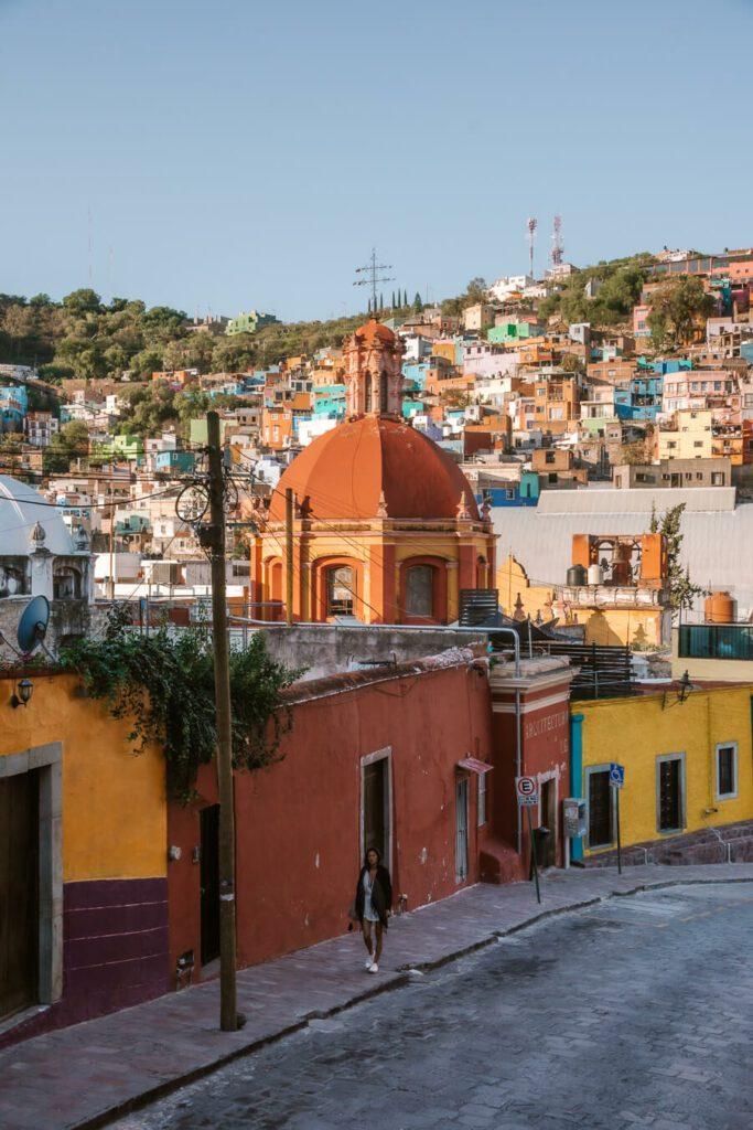 Streets at sunrise in Guanajuato Mexico