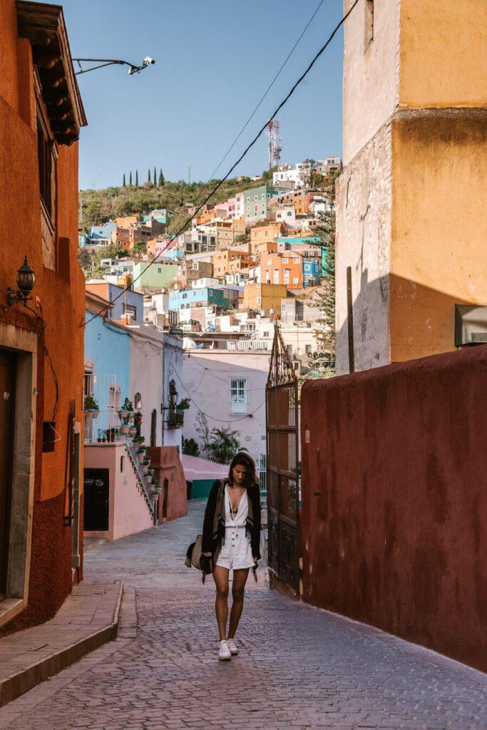 Woman exploring streets of Guanajuato Mexico
