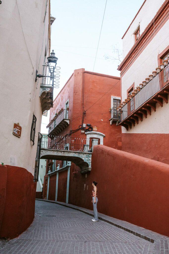 Famous bridge and street in Guanajuato mexico