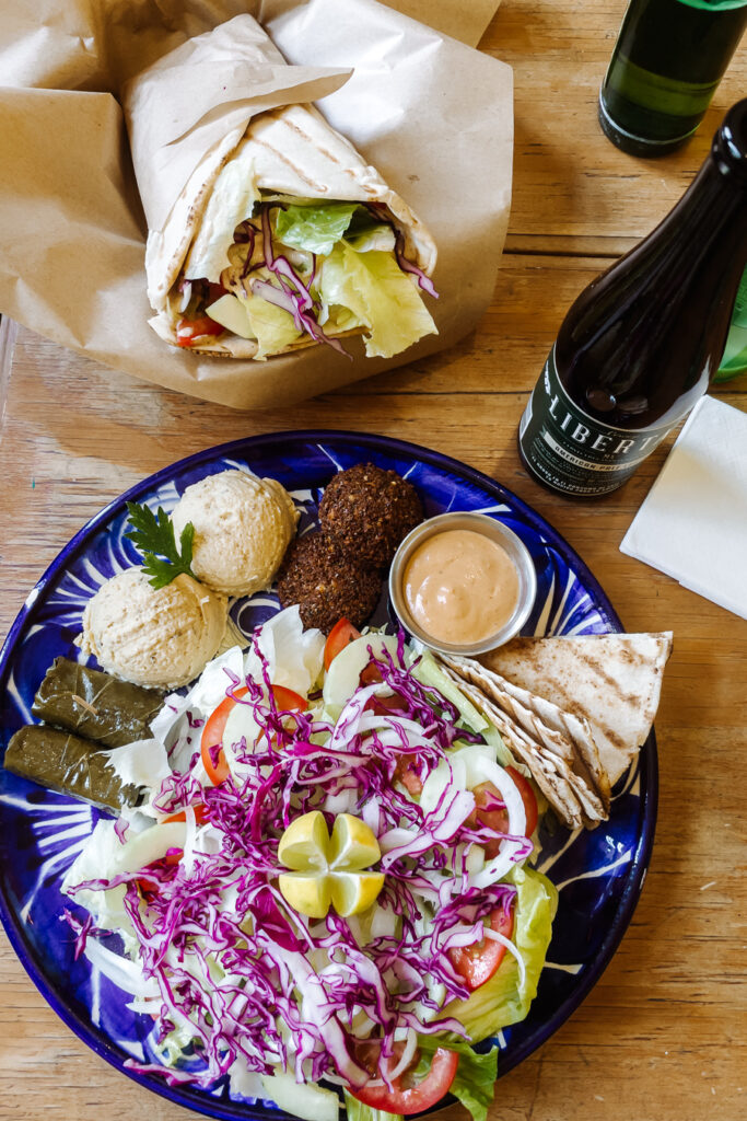 middle eastern falafel pate and wrap
