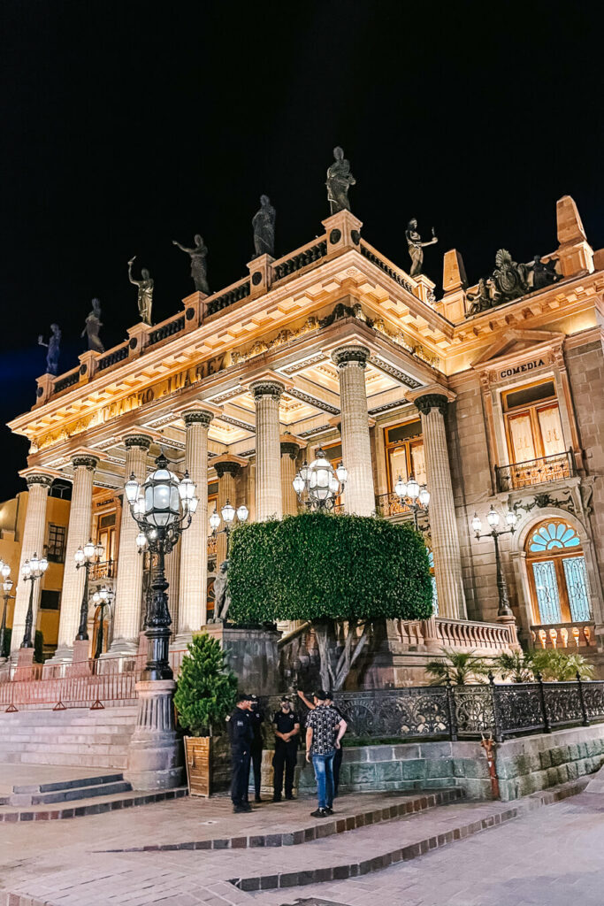 Teatro Juarez at night Guanajuato
