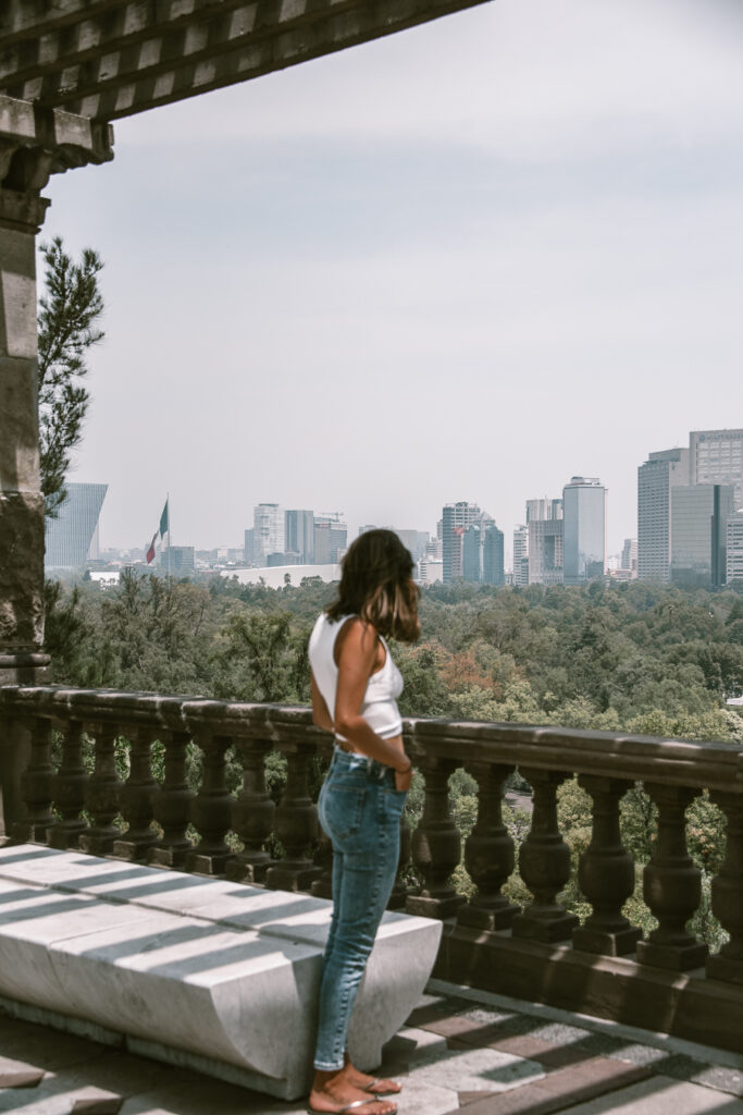 woman standing in Chapultepec park Mexico City