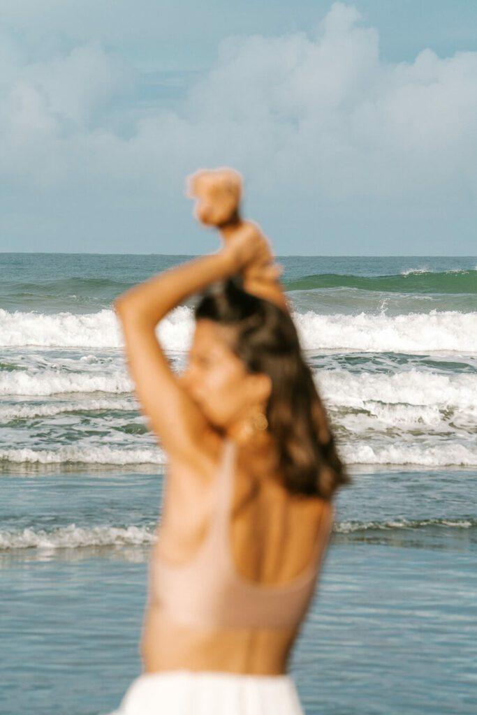 blurry woman on beach