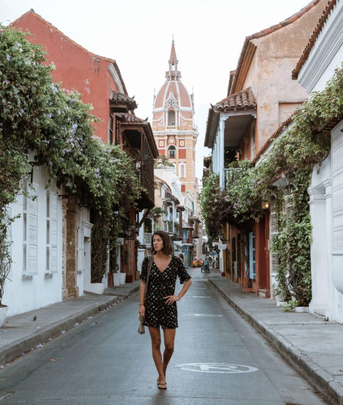 woman walking on the streets of Cartagena Colombia